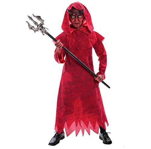 Teufel Kinder Sie Kostüm - Kinder Teufel Kostüm Böser Hexenmeister Zauberer Kleidung für Parteien und Halloween - Mittel (6 - 8 Jahre)
