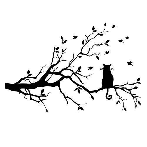 Winhappyhome Schwarz Baum Ast Katze Wand Aufkleber für Schlafzimmer Wohnzimmer Sofa Fernsehhintergrund Entfernbares Dekor Abziehbilder (Schwarz-wand-aufkleber Für Schlafzimmer)