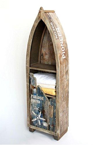 DanDiBo Regal Boot in Bootsform aus Holz Antik 7309 Maritim Bootsregal Badregal Badschrank Braun