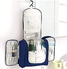 PETRICE Travel Toiletry Bag Extra Large Makeup Organiser Cosmetic Case Household Grooming Kit Storage Travel Kit Pack with Hook (Dark Blue)
