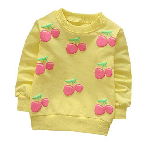 che Print T-Shirt Kleinkind Kind, DoraMe Baby Jungen Mädchen Lange ärmel Pullover Warme Bluse O-Ausschnitt Sweatshirt für 0-3 Jahr (B-Gelb, 12 Monate) (Halloween Cartoons Für Babys)