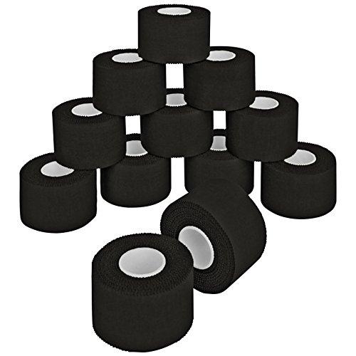 12 x Sport-Tape 3,8 cm x 10 m in 10 verschiedenen Farben, Farbe:schwarz