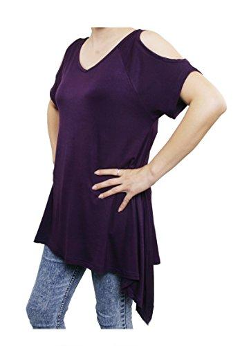 Lofbaz Damen Frauen Schulterfrei breiter Saum Tops Design #1 Dunkelviolett