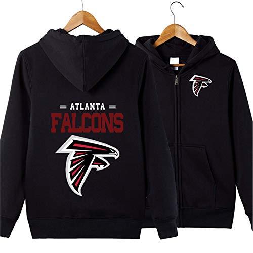 SZRXKJ Männer mit Kapuze Langarm Buchstaben drucken Atlanta Falcons Football Team Reißverschluss Hoodies(4XL,schwarz)