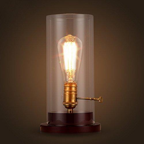 ZLL Haushalt Tischlampe, Nachttischlampe, Persönlichkeit Einfache Schlafzimmer Nachttisch Amerikanischen Land Retro Persönlichkeit Kunst Glas Lampe Kreative Persönlichkeit Studie Lampe Lesen Nachtlic - Schlafzimmer-land-nachttisch