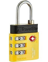 Travel Blue Tsa Kombischloss De Luxe, blau, gelb, langer Bügel, 037