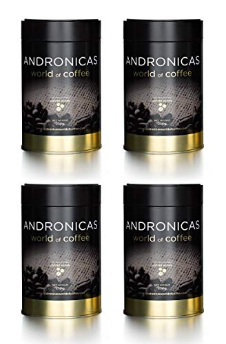 Andronicas 1849 Signature Blend Roasted Whole Coffee Beans 1kg for Grinder Machine (4 * 250 Grams Tins) - Initially named & Created For Harrods' 150th anniversary.(100% Pure Arabica Coffee) (Bean Machine)