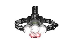 Linterna Frontal LED Recargable, 8000 Lúmenes lampara de cabeza con luz roja SOS modos impermeable Cabeza Antorcha para correr, senderismo, Camping, lectura, Senderismo, niños, pesca y más