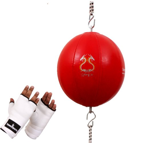 TurnerMAX Punching-Ball, Rot, Doppelendball, Gummibänder, inkl. schaumgepolsterte Innenhandschuhe aus Baumwoll-Polyester-Mischgewebe, Weiß, Größe L -