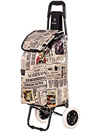 EverBest Foldable Shopping Trolley Bag (Newspaper Print)