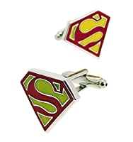 Beaux Bijoux - Superman Super Hero Cufflink Men's Shirt Cuff Links Pair - Yellow and Red