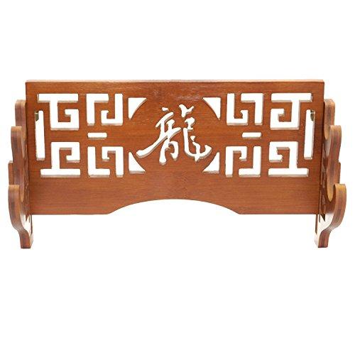 Katana-und Wakizashi-Schwert-Halterung aus Bambus, Samurai, Wandhalterung, 2 Tier-Dragon-龍 (Samurai Tanto Messer)