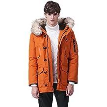 LvRao Hombre abrigo plumas largo casual chaquetas de pluma con capucha anorak de plumas con cremallera