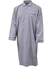 Chemise de nuit 100% coton à rayures - bleu / rouge - homme