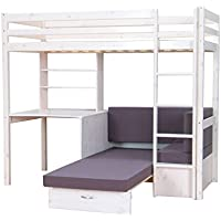 Preisvergleich für Thuka Hochbett, 90x200 Bett weiss inkl. Matratze grau Kinderbett