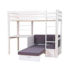 thuka hochbett 90x200 bett weiss inkl matratze grau und lattenrost k che haushalt. Black Bedroom Furniture Sets. Home Design Ideas