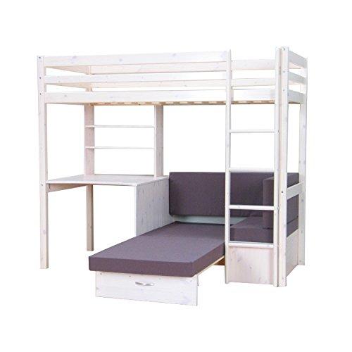 Thuka Hochbett, 90x200 Bett weiss inkl. Matratze grau Kinderbett