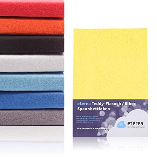 #10 Etérea Teddy Flausch Kinder-Spannbettlaken, Spannbetttuch, Bettlaken, 18 Farben, 60x120 cm - 70x140 cm, Gelb