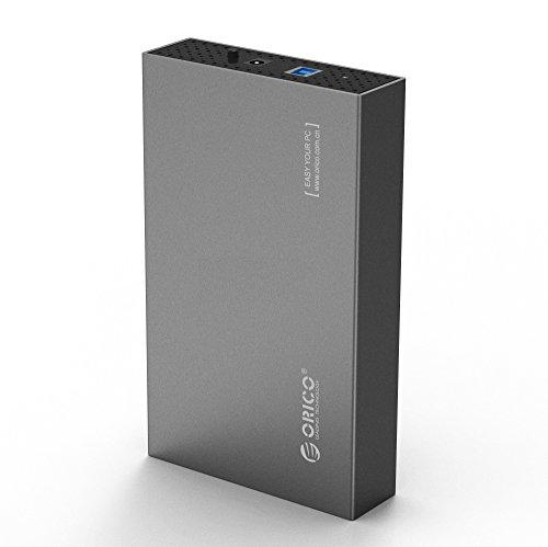 Orico Caja de aluminio para disco duro USB 3.0 con UASP para HDD SATA III de 3.5 pulgadas - Gris
