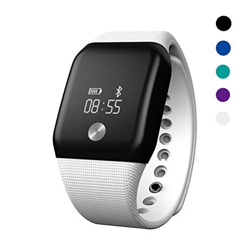 Huichao Pulsera Actividad Inteligente con Pulsómetro Deportiva Ritmo Cardíaco Monitor De para Impermeable Reloj Fitness Podómetro para Android Y iOS,White