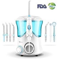 Munddusche Wasser Flosser, Vellepro Elektrische Wasserreiniger Zahnreiniger 600ML Wassertank mit 7 Multifunktions Düsen 10 Druckeinstellungen Praktisch für ganze Familie