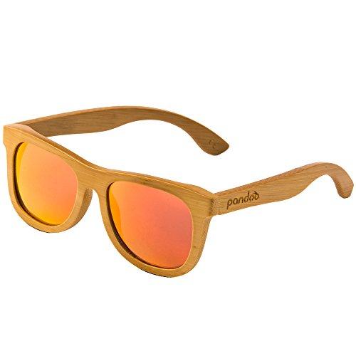 pandoo Bambus-Sonnenbrille mit Brillen-Etui, Schraubenzieher und Tasche - polarisiert & UV400 - verschiede Farben u verspiegelte Gläser, Damen, Herren, Unisex - Holz, UV-Schutz