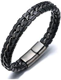 """Halukakah «SOLO»:Le Bracelet de l'homme en Cuir Véritable Noire/Argent/Or ,8.46 """"/ (21 .5cm ) avec le Boîte-cadeau GRATUIT"""