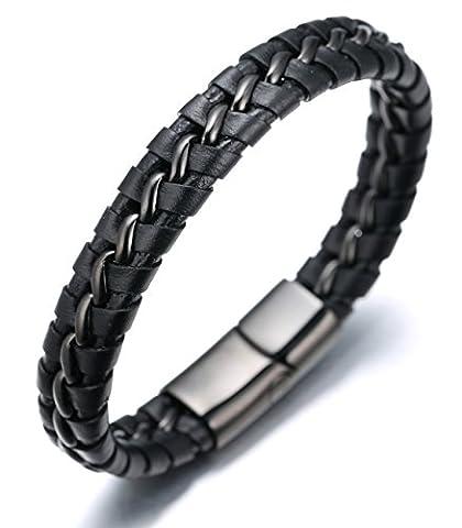 Halukakah «NIGHTWATCH»:Le Bracelet de l'homme avec les Bouttons Titané ,Magnétique et Pistolet-noire,8.46