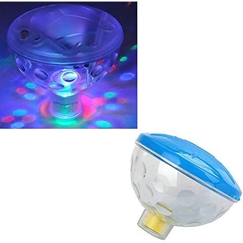 7 Esquemas de luz subacuática impermeable flotante de la lámpara LED Disco de Aqua resplandor multicolor intermitente Baño Estanque exterior Spa Bañera de hidromasaje Partido luz de la noche
