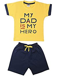 Generic Boy's Cotton T-Shirts and Shorts Yellow_12-18 Months