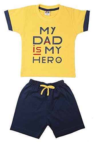 Generic Cotton Baby Boy's and Baby Girl's T-Shirt and Shorts Set (BABY_M_TP40c_Yellow and Blue_12 - 18 Months)