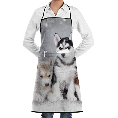 Womens Athletic Slip (Lovely Huskies Brother Athletic Grill Aprons Kitchen Chef Bib - Professional for BBQ Baking Cooking for Men Women Pockets Womens Cooking Apron)