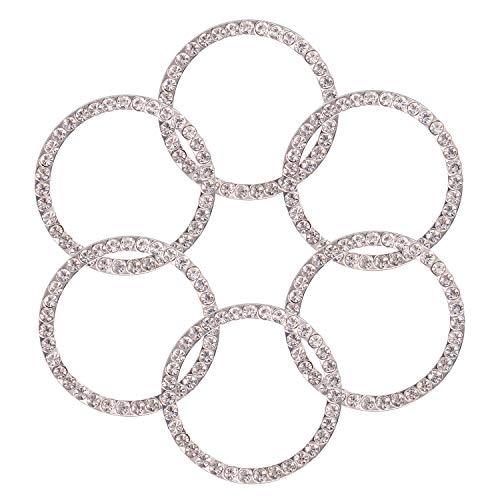 TOBATOBA 6 Stück Kristall Strass Auto Bling Dekoration Ring Emblem Aufkleber Dekor Auto Motor Start Stop Zubehör für Männer und Frauen 6 Stück