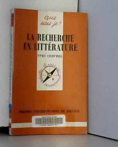 La recherche en littérature