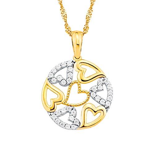amor Damen-Halskette mit Kreis-Anhänger mit Herzen und Zirkonia Gold 375