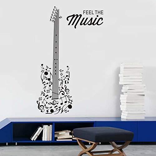 Xlei cameretta adesivi murali sentire la musica vinile decalcomanie chitarra silhouette autoadesivo fai da te adesivi freddi per ragazzi camera da letto della decalcomania della parete poster40x92 cm