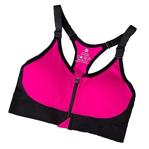 Daojian Femmes Zipper Fitness Yoga Bra Rose rouge