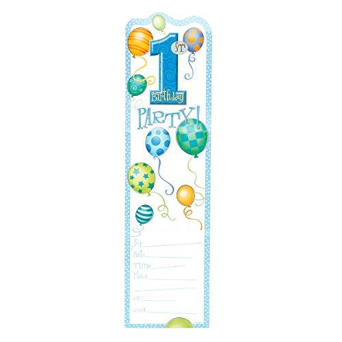 Unique Party Supplies Blau Luftballons 1. Geburtstag Einladungen, 8Stück