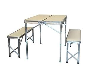 campingtisch wiesenhaus alu tisch mit 2 b nken set im. Black Bedroom Furniture Sets. Home Design Ideas