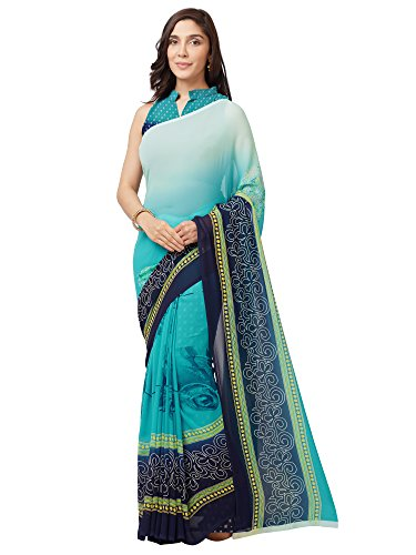 SOURBH Women's Faux Georgette Printed Saree (7638_Turquoise_FreeSize)