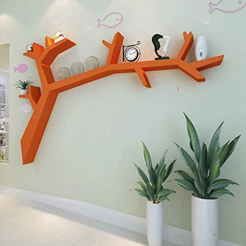 YLCJ ailj Etagère Murale en Bois Massif avec Support créatif en Bois Salon Présentoir Disponible en Plusieurs Combinaisons (6 Couleurs) (Couleur: Orange)