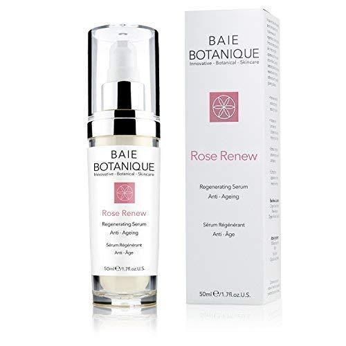 Baie Botanique Rose Renew Serum - 4x Ausgezeichnetes Anti-Aging Gesichtsserum mit 15% Hyaluronsäure, Rosenwasser, Rose Absolue, Hagebuttenkernöl, Glykolsäure. 98% natürlich, 80% biologisch.