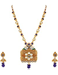 Apara Peacock Design Blue Kundan Chain Necklace With Pearl For Women