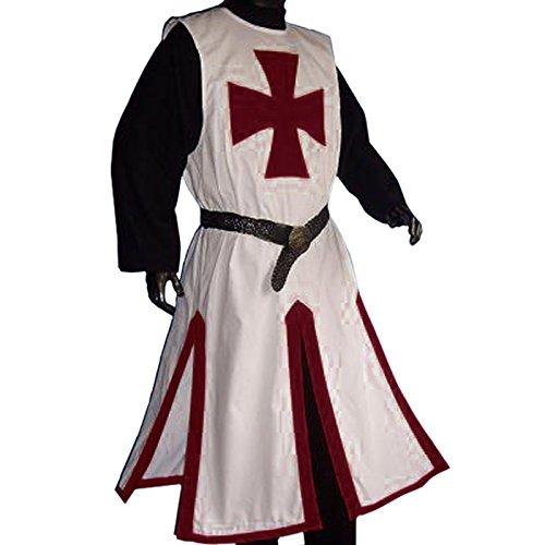 Giubba da crociato - Travestimento per eventi LARP o GdR - Giubba in bianco e rosso - L