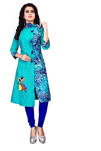 OSLC Blue Embroidered chanderi Designer Kurti (Small)