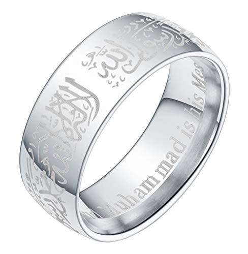 Boomly Paar Ringe Muslim Islam Arabisch Allah Shahada Ringe Rostfreier Stahl Ring Schmuck Zubehör (Silber, 7)