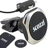scozzi 360° KFZ Magnet Handy Halterung Lüftung + (USB Typ C) Auto Ladekabel mit 2400mAh, Smartphone Halter magnetisch universal, auch für runde Lüftungslamellen (Magnet 6)