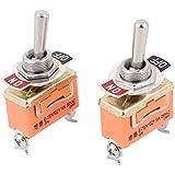 sourcingmap® AC 250V 15A SPST MARCHE-ARRÊT 2 Broches Loquet Miniature Interrupteur À Bascule 2 pièces