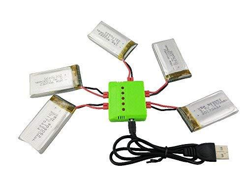 Fytoo 5PCS 3.7V 1200mAh Lipo Batería y 5 en 1 Cargador para Syma X5HW X5HC RC Quadcopter