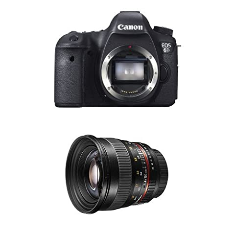 Canon EOS 6D Vollformat Digital-SLR Kamera mit WLAN und GPS (20,2 Megapixel, 7,6 cm (3 Zoll) Display, DIGIC 5+) nur Gehäuse + Walimex Pro 50mm f/1,4 DSLR Porträt Objektiv für Canon EOS inkl. Sonnenblende/Filterdurchmesser 77 mm schwarz